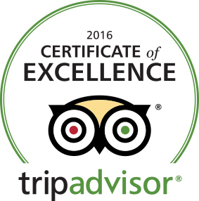 Trip Advisor Certificate of Excellence for Year 2016